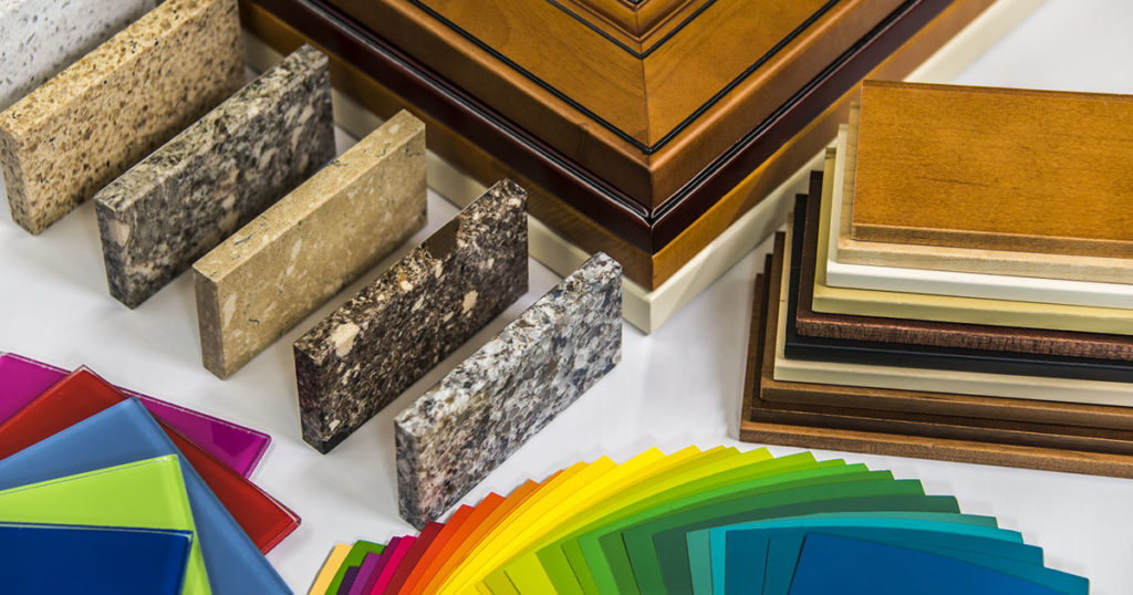 Kitchen cabinets, counters, glass, wood doors and paint color sample