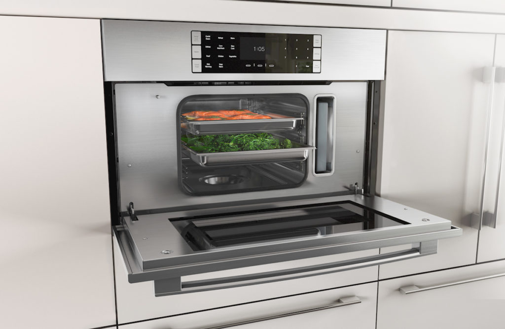 Bosch Benchmark steam oven open with food