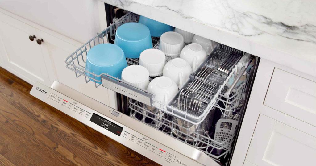 Loaded Bosch dishwasher