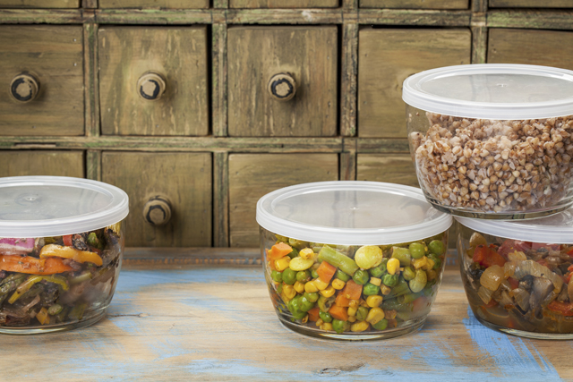 Containers of leftover food