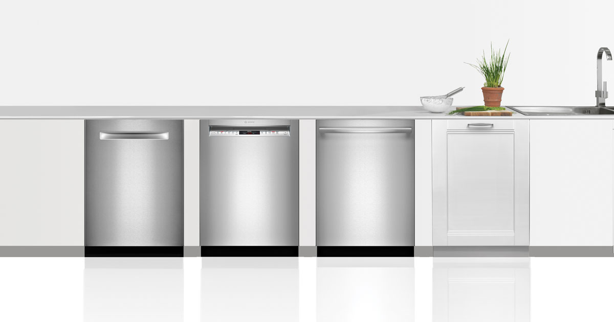 Row of four Bosch dishwashers