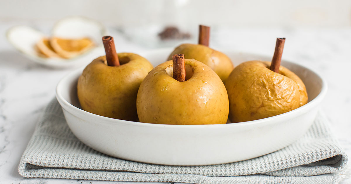 baked apple with cinnamon stick