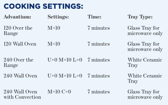 GE Advantium Oven settings for Baked Apples