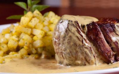 Top Sirloin Steak with White Wine Tarragon Mustard Sauce